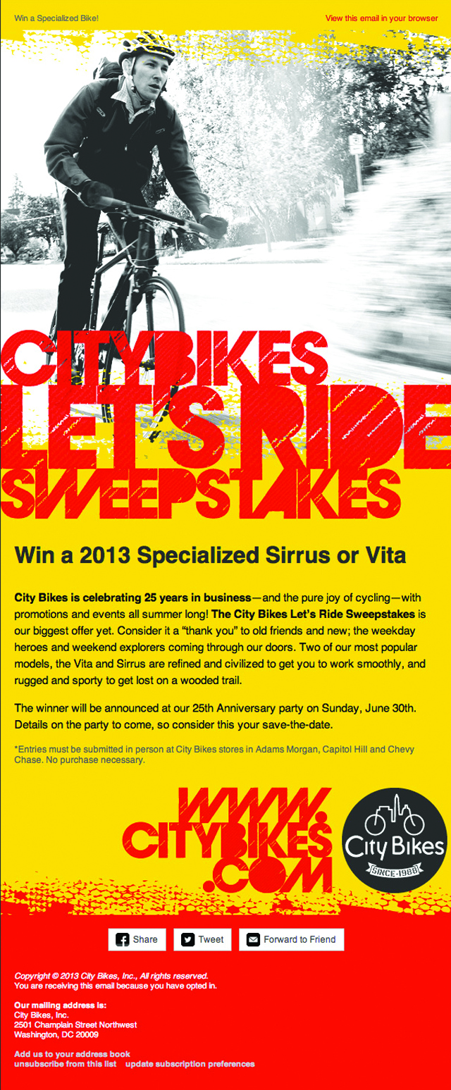 City Bikes Sweepstakes MailChimp Email