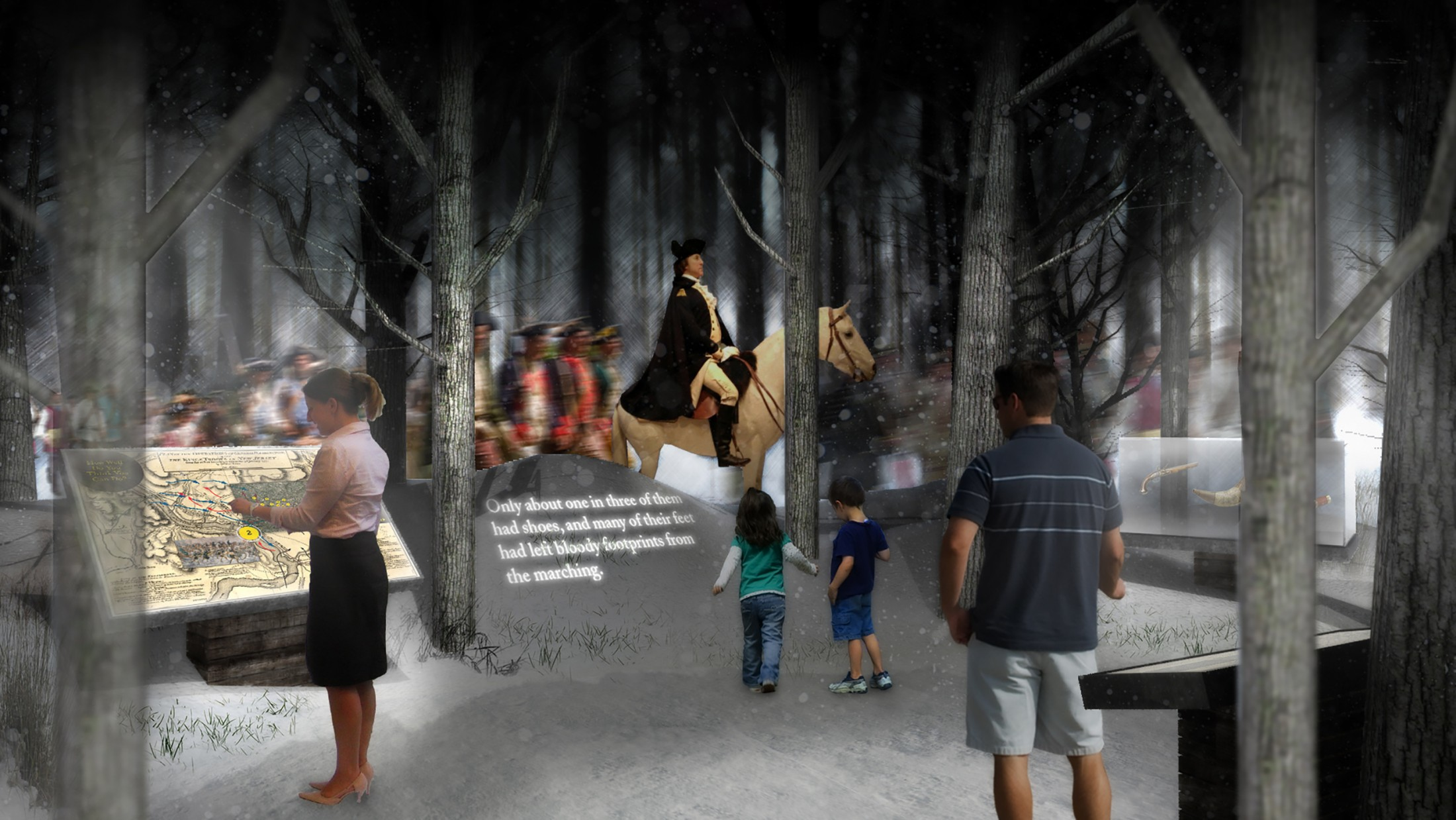 Mount Vernon Estate Orientation Center Gallery Concept: Valley Forge March